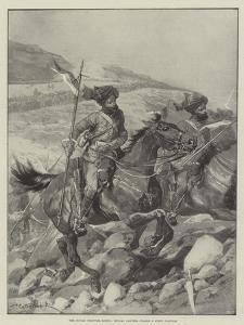 The Indian Frontier Rising, Bengal Lancers Charge a Steep Position by Richard Caton Woodville II