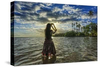 A Hula Dancer in Low Tide Water in Front of Kapuaiwa Palm Grove, Molokai Island