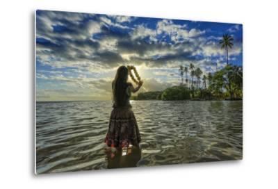 A Hula Dancer in Low Tide Water in Front of Kapuaiwa Palm Grove, Molokai Island