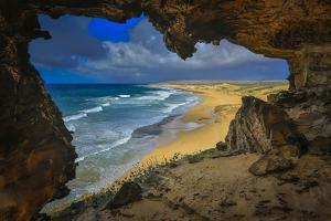 View from Cave Looking over the Beaches of the Mo'Omomi Preserve, of Nature Conservancy by Richard Cooke III