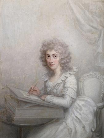 A Lady, Seated at a Table Writing a Letter