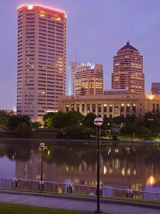 City Skyline and the Scioto River, Columbus, Ohio, United States of America, North America by Richard Cummins