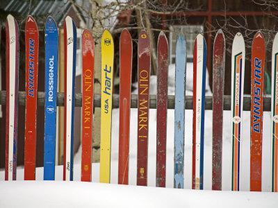 Fence Made from Skis, City of Leadville. Rocky Mountains, Colorado, USA