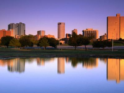 Fort Worth Reflected in the Trinity River Park, Fort Worth, Texas by Richard Cummins