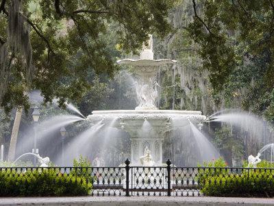 Fountain, Forsyth Park, Savannah, Georgia, United States of America, North America