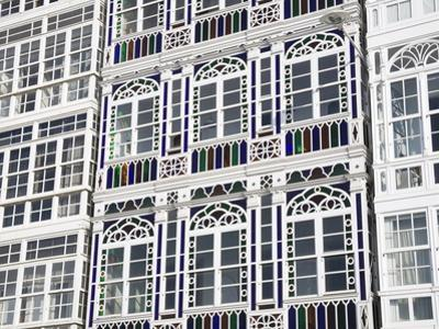 Galerias (Glass-Fronted Balconies) on Marina Avenue, La Coruna City, Galicia, Spain, Europe by Richard Cummins