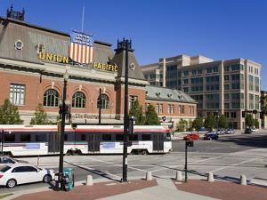 Historic Union Station and Light Rail Train, Salt Lake City, Utah, USA by Richard Cummins