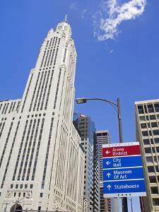 Leveque Tower and Road Signs, Columbus, Ohio, United States of America, North America by Richard Cummins