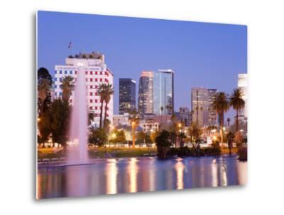 Macarthur Park Lake and City Skyline, Los Angeles, California, United States of America
