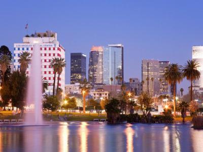 Macarthur Park Lake and City Skyline, Los Angeles, California, United States of America by Richard Cummins