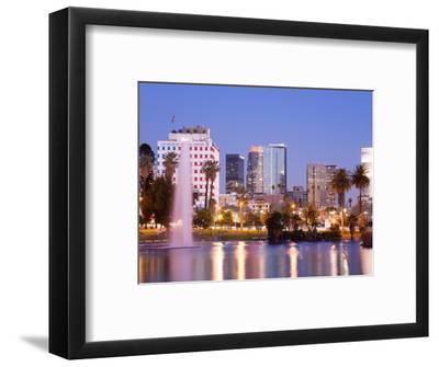 Macarthur Park Lake and City Skyline, Los Angeles, California, United States of America