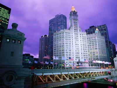 Michigan Avenue Bridge and Wrigley Building at Dusk, Chicago, United States of America by Richard Cummins
