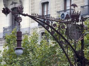 Modernista Lampost on Passeig De Gracia, Barcelona, Catalonia, Spain, Europe by Richard Cummins