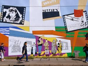 Mural on the Tower Records Building on Guadalupe Street, Austin's University Area, Austin, Texas by Richard Cummins