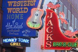 Neon Signs on Broadway Street, Nashville, Tennessee, United States of America, North America by Richard Cummins