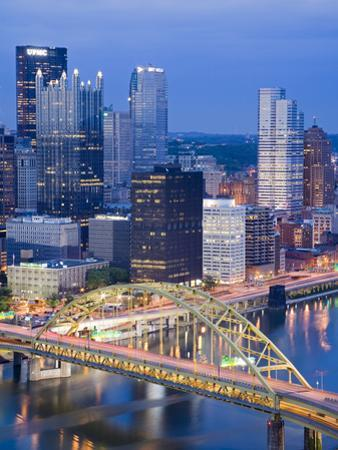 Pittsburgh Skyline and Fort Pitt Bridge over the Monongahela River, Pittsburgh, Pennsylvania, Unite by Richard Cummins