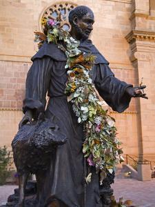 Statue of St. Francis of Assisi, St. Francis Cathedral, City of Santa Fe, New Mexico, USA by Richard Cummins