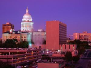 Sunrise and the Texas State Capitol Building in Austin, Austin, Texas by Richard Cummins