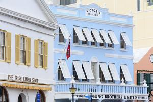 Victoria Block on Front Street in Hamilton City, Pembroke Parish, Bermuda, Central America by Richard Cummins