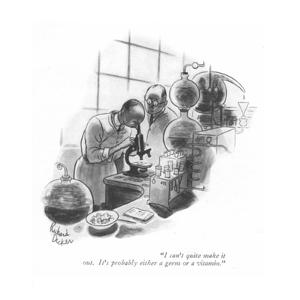 """""""I can't quite make it out. It's probably either a germ or a vitamin."""" - New Yorker Cartoon by Richard Decker"""