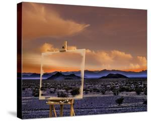 Easel in Nevada Sunset by Richard Desmarais
