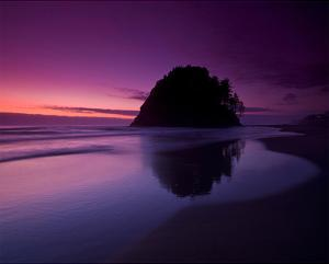 Rock and Red Sunset by Richard Desmarais