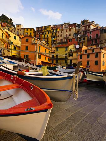Fishing Boats at Rest in Manarola in Cinque Terre, Tuscany, Italy