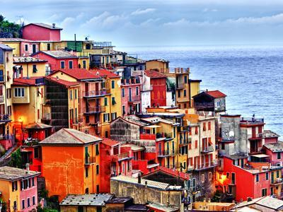 Italy Coast Town Boats  Sea Canvas Poster Wall Art Print Picture Framed AP007