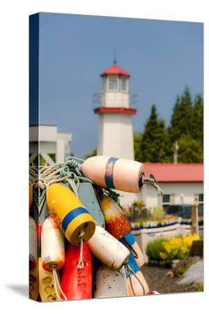 USA, Washington, Aberdeen. Buoys in the Westport Winery Vineyard