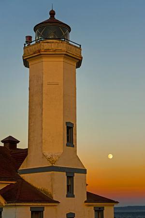 Washington, Port Townsend. Super Moon over the Point Wilson Lighthouse