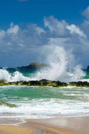 Waves Breaking on the Rocks at Kauapea Beach, Kauai, Hawaii, USA
