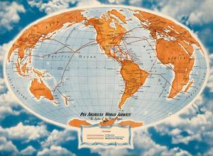 World Route Map - Pan American World Airways - The System of the Flying Clippers by Richard Edes Harrison