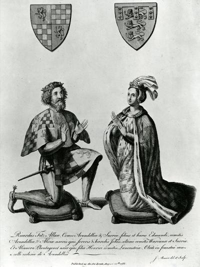Richard Fitzalan, 3rd (10Th) Earl of Arundel (C.1307-76) and Eleanor Countess of Arundel, 1785-James Basire-Giclee Print