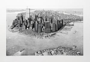 Manhattan View from Governor's Island, b&w by Richard Haas