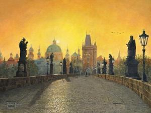 Misty Dawn Charles Bridge Prague by Richard Harpum