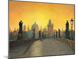 Misty Dawn Charles Bridge Prague by Richard Harpum