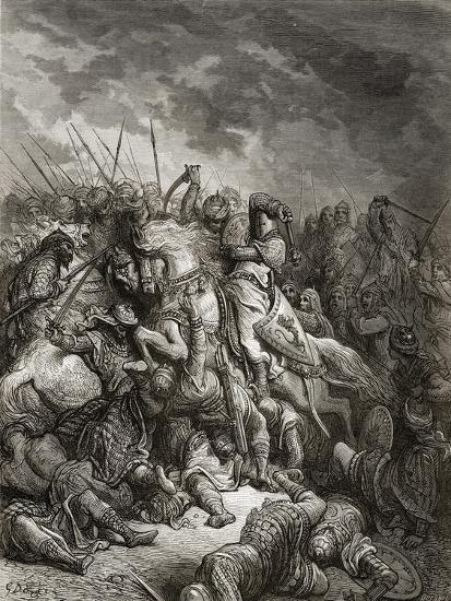 Richard I (1157-99) the Lionheart in Battle at Arsuf in 1191, Illustration from 'Bibliotheque Des…-Gustave Dor?-Giclee Print