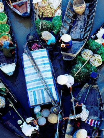 Boats at Floating Market, Vietnam