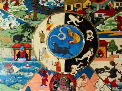 Detail of Painting at Entrance to Prayer Hall, Pemayangste Monastery, Pemayangtse, Sikkim, India
