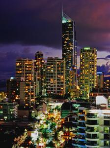 Hi-Rise Apartments Including Q1 Tower at Dusk by Richard I'Anson