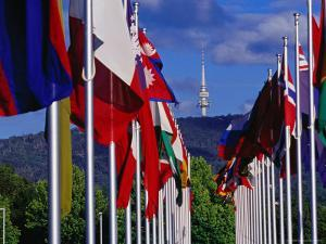 International Flag Display at Commonwealth Place and Telstra Tower on Black Mountain by Richard I'Anson