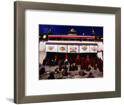 Monks and Pilgrims Outside Sera Monastery, Lhasa, Tibet