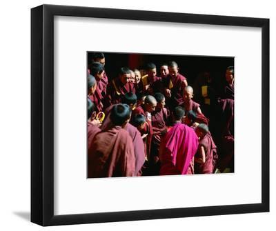 Monks Gathered in Courtyard of Historic Ganden Monastery, Ganden, Tibet