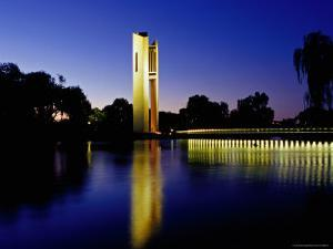 National Carillon Reflected in Lake Burley Griffin at Dusk by Richard I'Anson