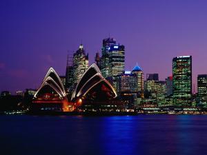Opera House and City Skyline at Dusk, Sydney, Australia by Richard I'Anson