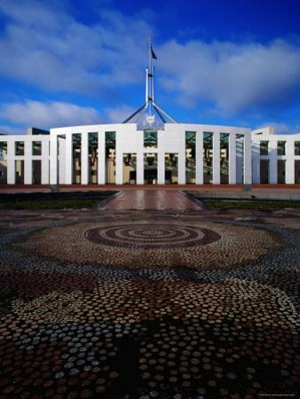 Parliament House with Mosaic in Foreground, Canberra, Australian Capital Territory, Australia