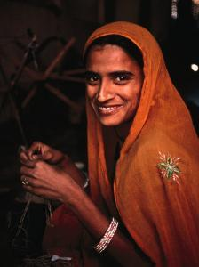 Portrait of Woman Working in Carpet Factory, Jaipur, Rajasthan, India by Richard I'Anson