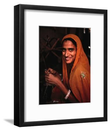 Portrait of Woman Working in Carpet Factory, Jaipur, Rajasthan, India