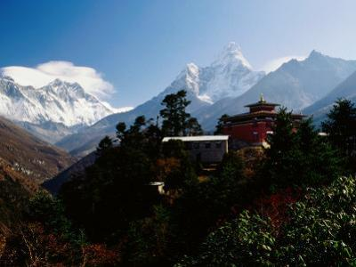 Tengboche Monastery in Front of Mt Everest, Lhotse, Nuptse and Ama Dablam