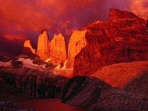 The Torres Del Paine (Towers of Paine) at Sunrise, Patagonia, Chile by Richard I'Anson